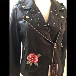 NWT Ci Sono Vegan Leather Embellished Biker Jacket
